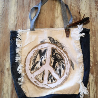 Sac denim recyclé Peace and Love